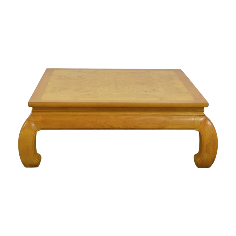 Henredon Furniture Henredon Ming Burlwood Top Coffee Table second hand