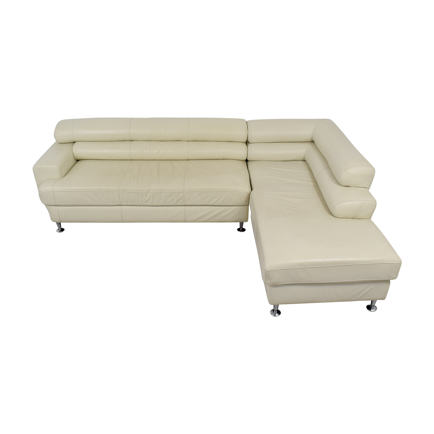 White Italian Leather Chaise  Sectional used