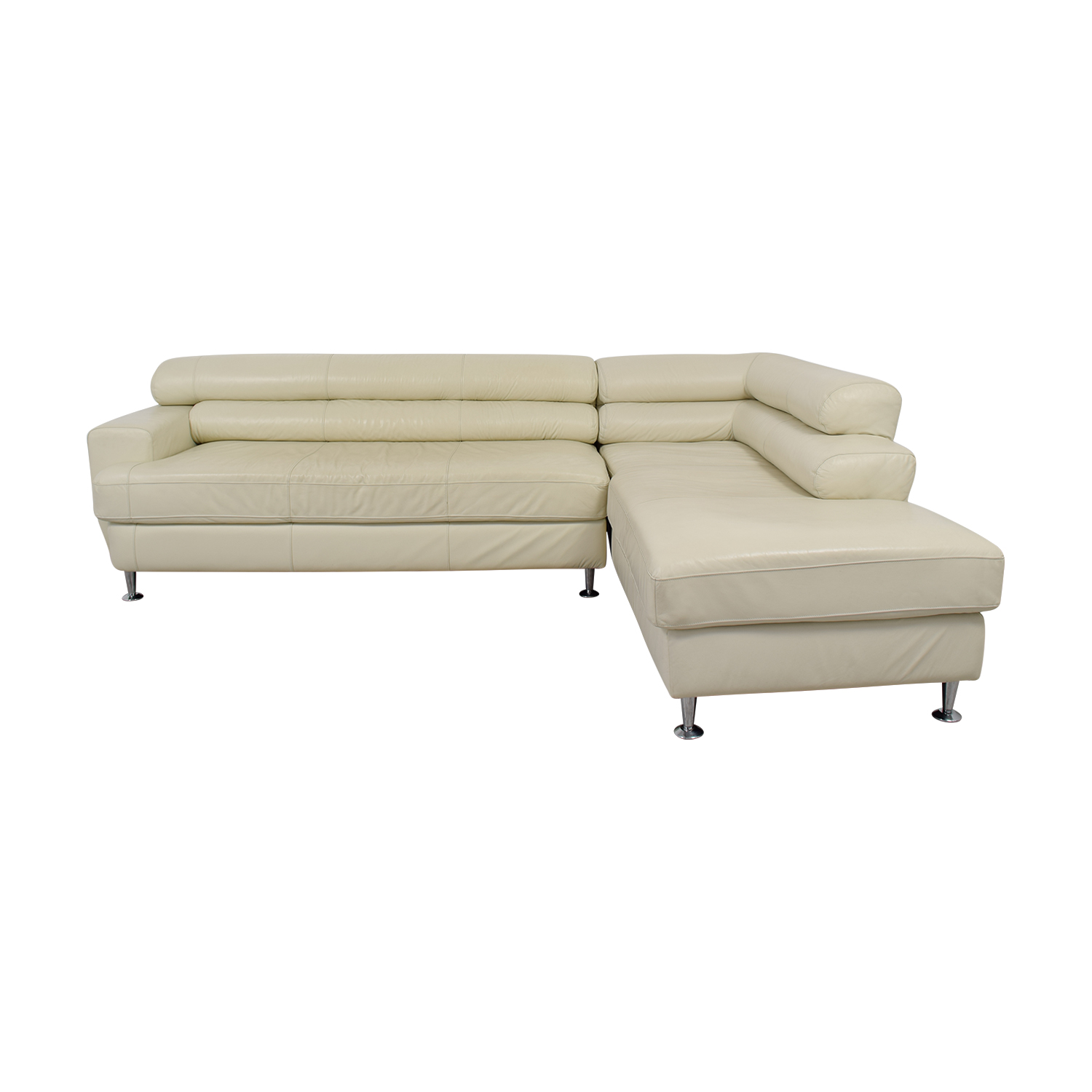 White Italian Leather Chaise  Sectional