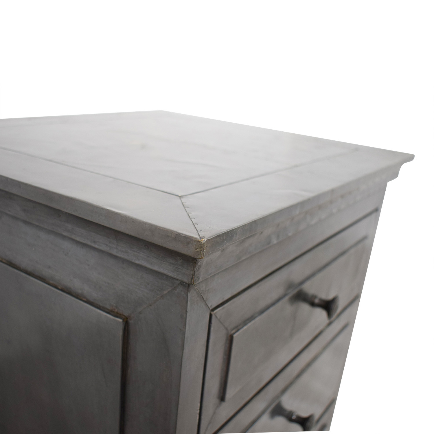 Restoration Hardware Annecy Metal Wrapped Nightstand With Zinc Finish