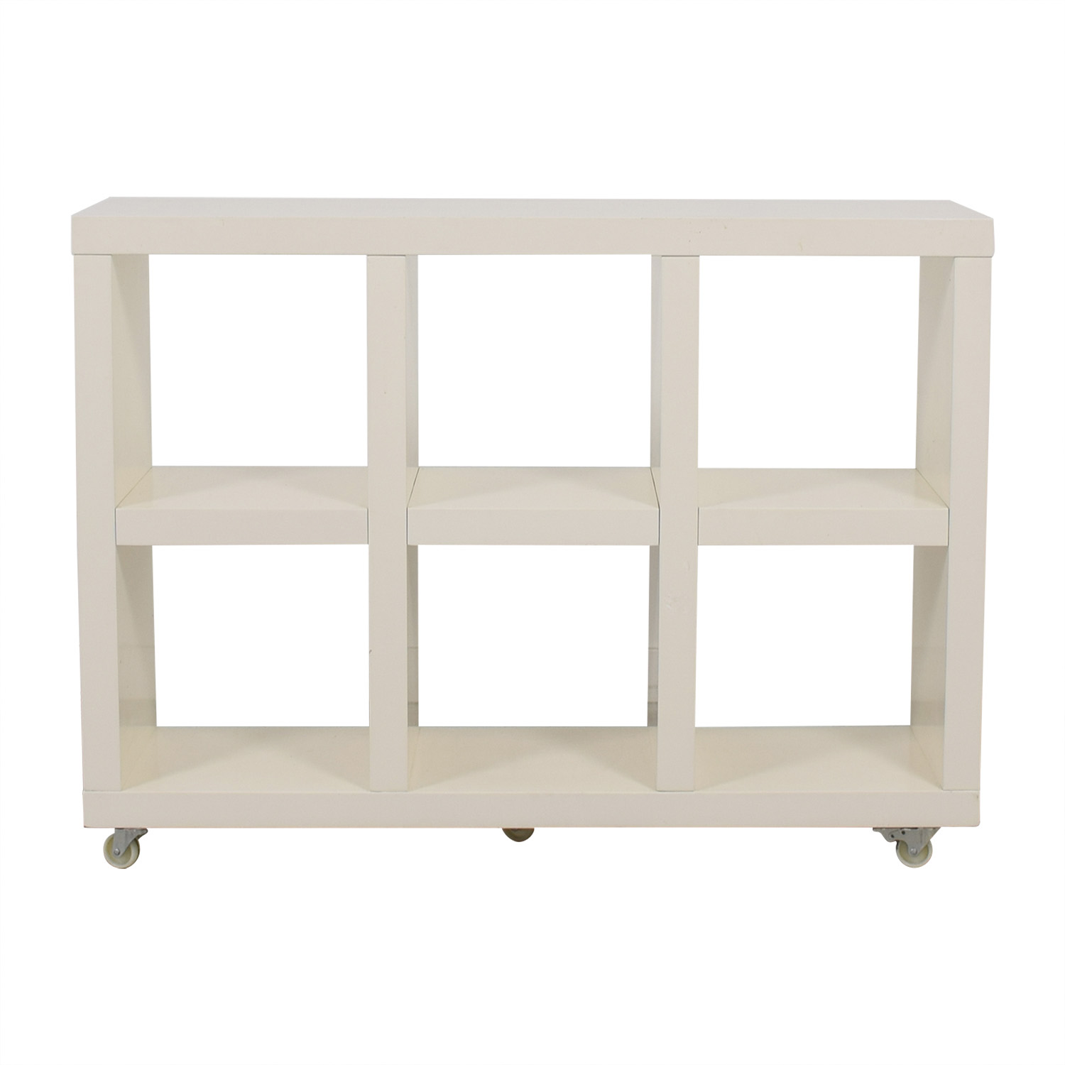 West Elm West Elm White Bookcase on Casters nyc