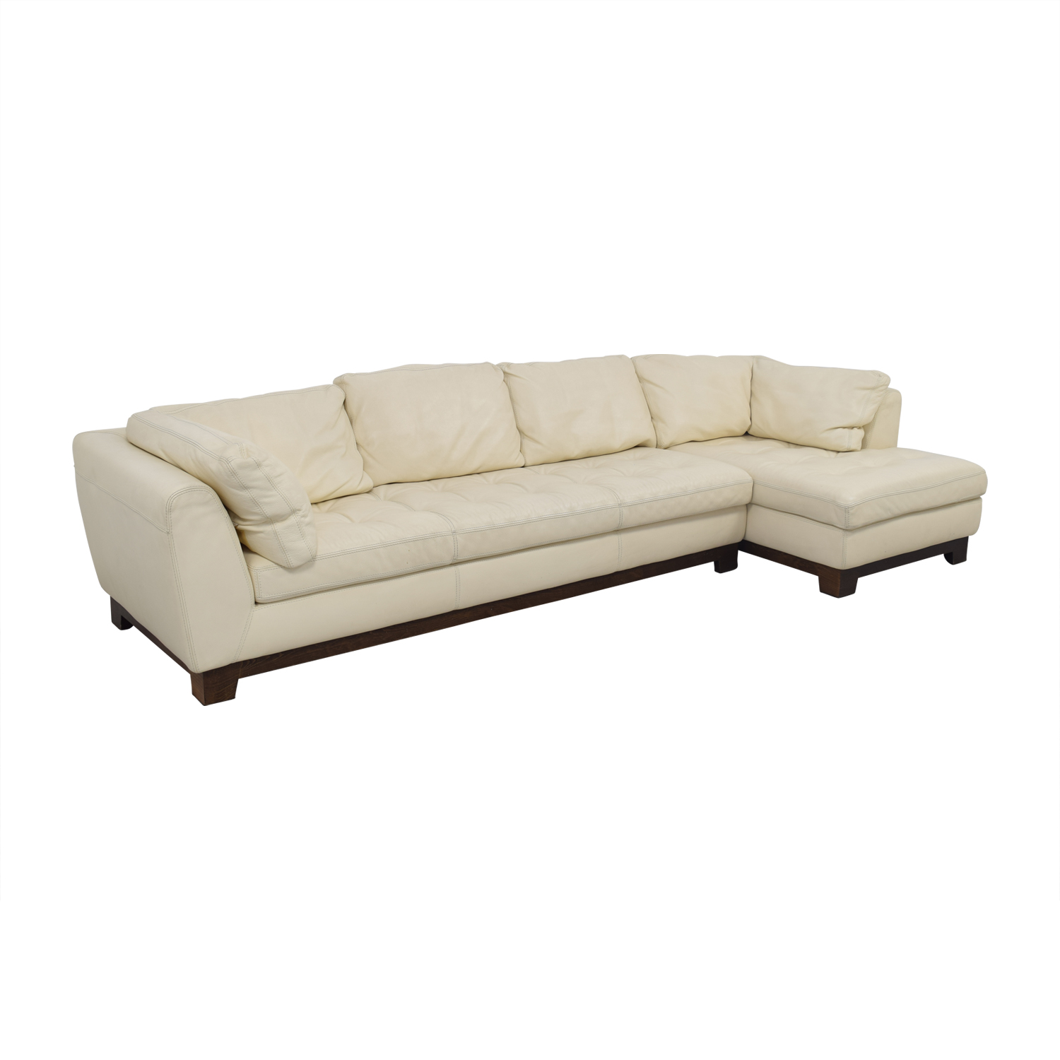 76 off roche bobois roche bobois cream leather chaise sectional sofas. Black Bedroom Furniture Sets. Home Design Ideas