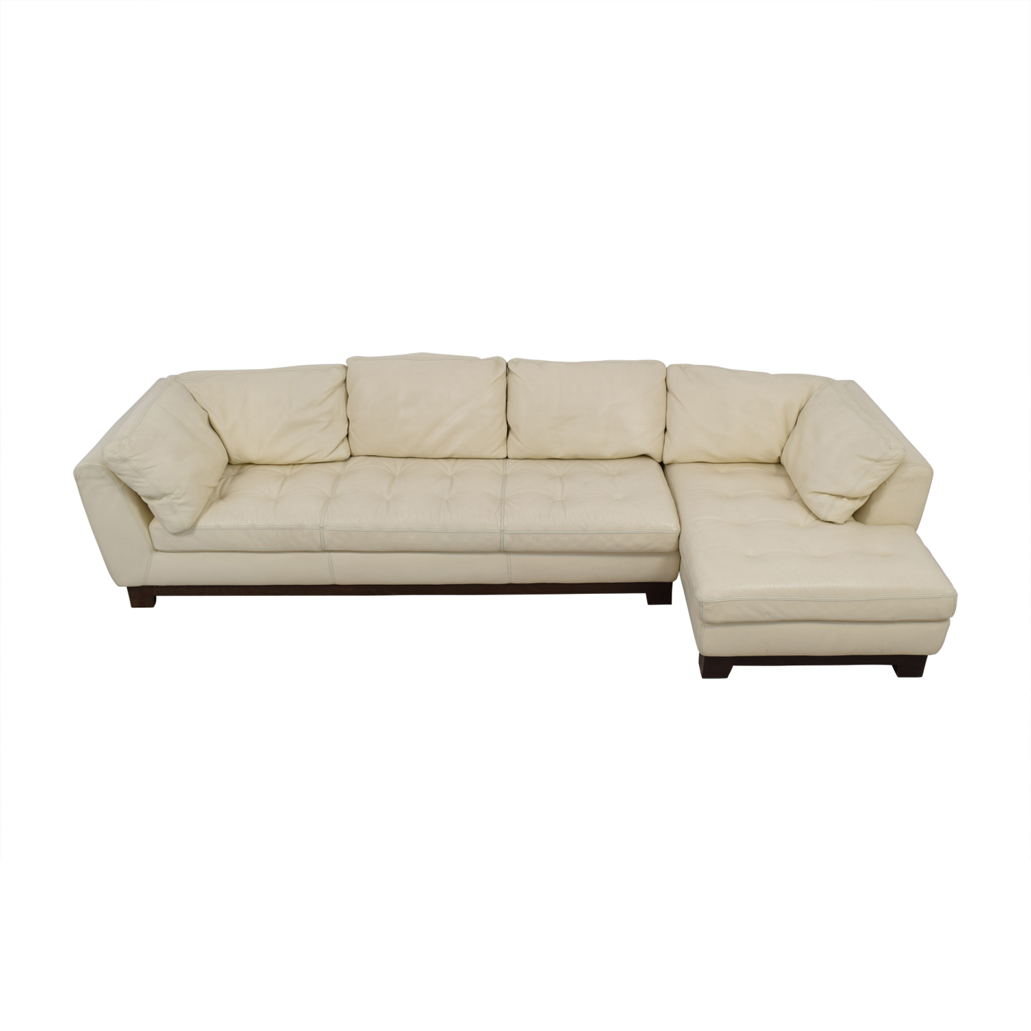 89 Off Roche Bobois Roche Bobois Cream Leather Chaise Sectional Sofas