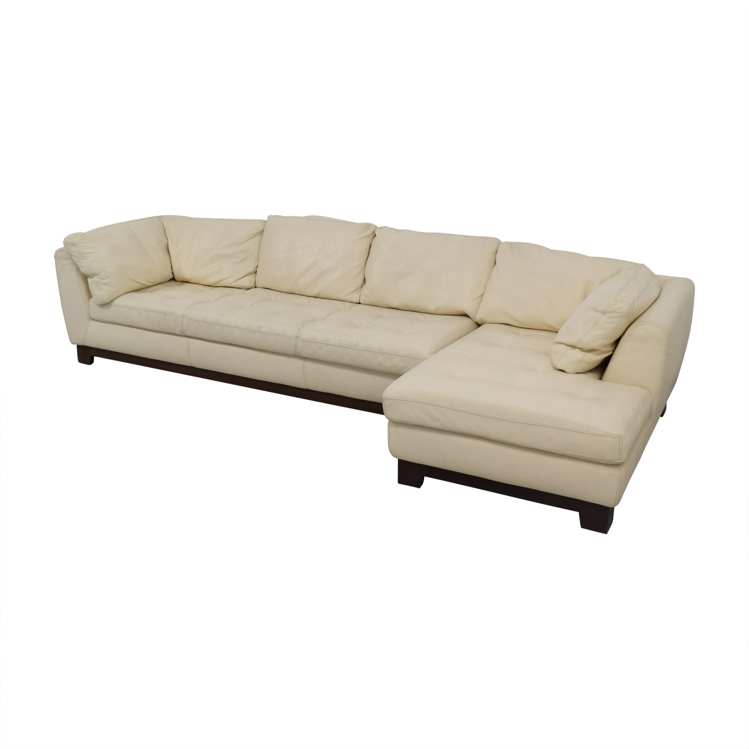Roche Bobois Cream Leather Chaise Sectional Sofas