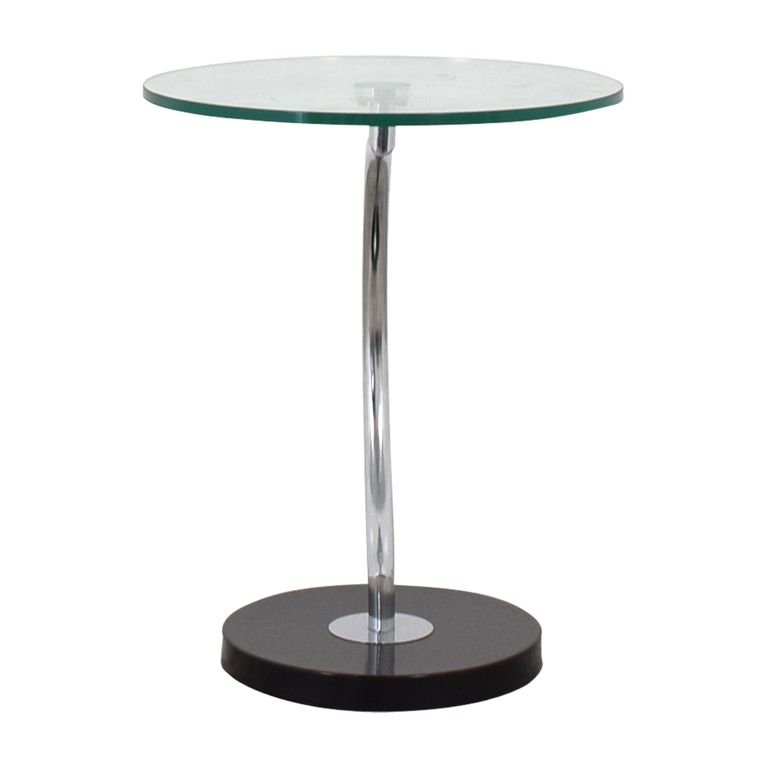 Round Glass Top End Table Black, Silver