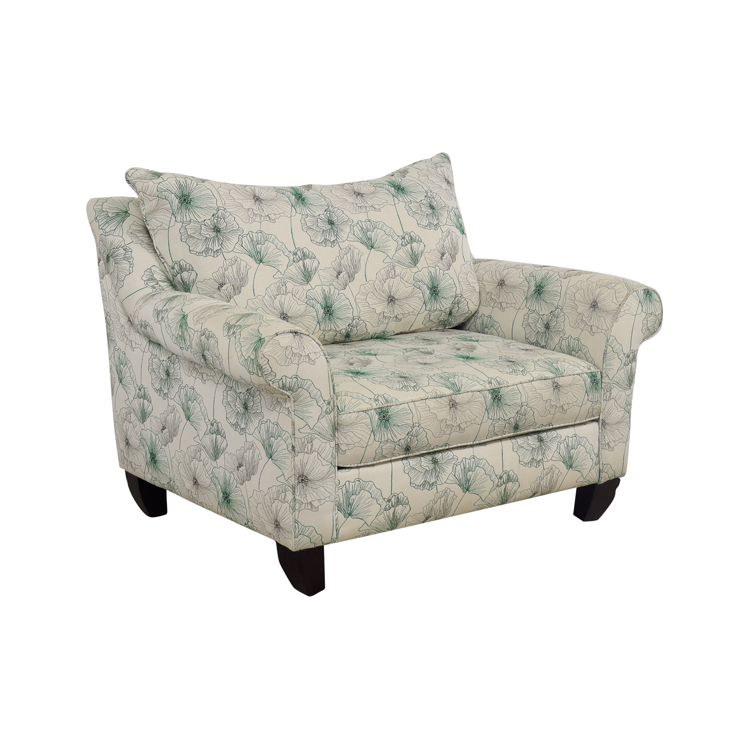 American Signature White and Green Floral  Loveseat / Loveseats