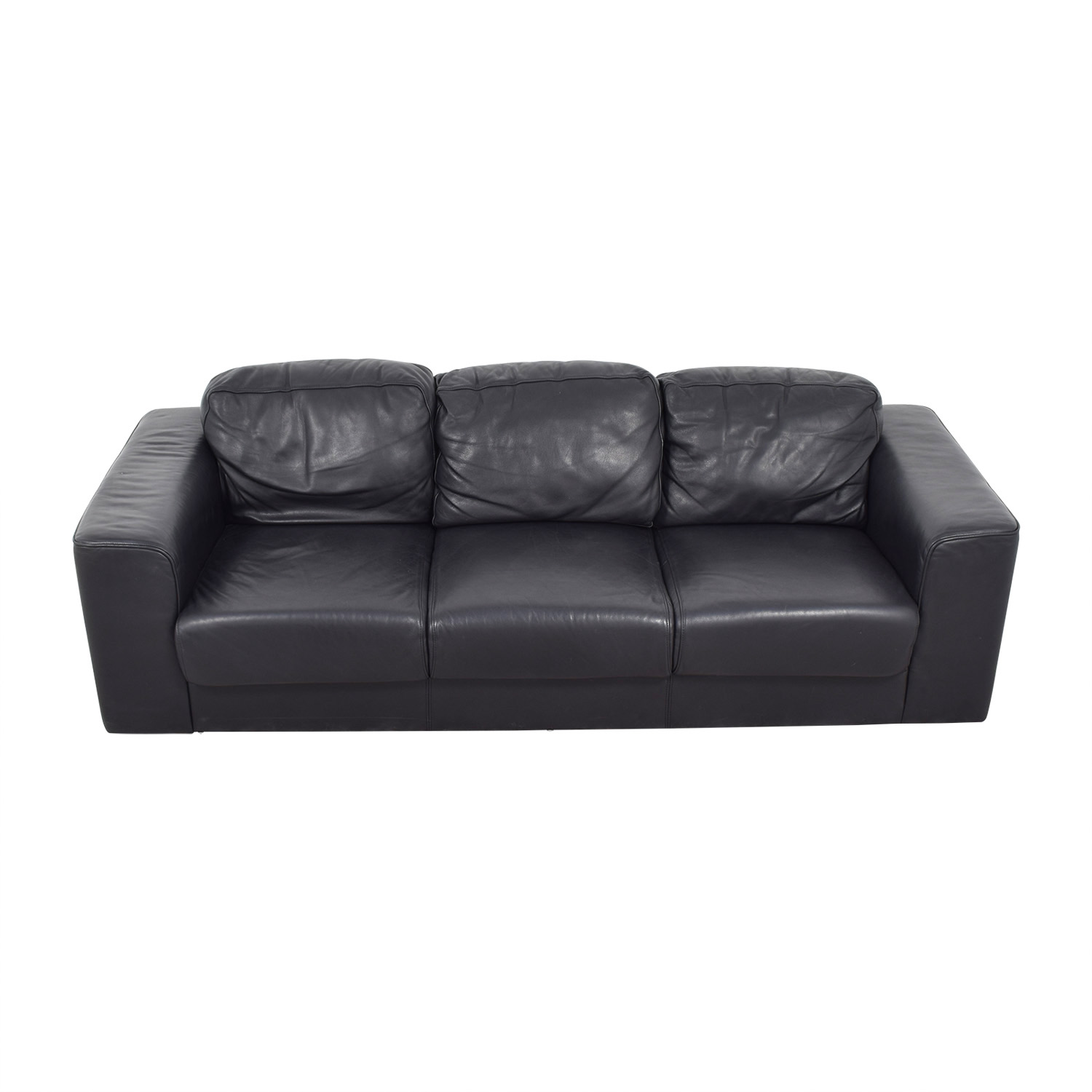 Black Leather Three-Cushion Sofa used