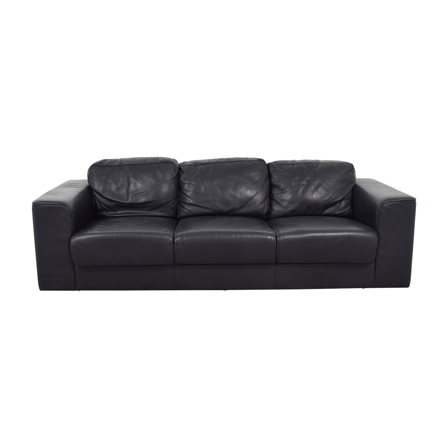 Black Leather Three-Cushion Sofa second hand