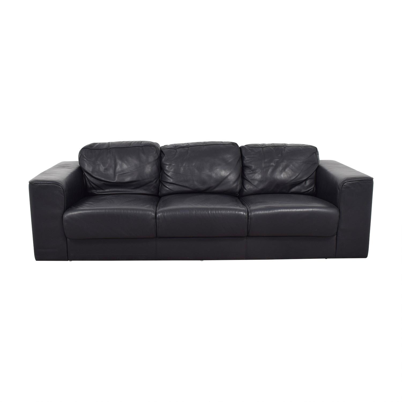 Black Leather Three-Cushion Sofa second hand