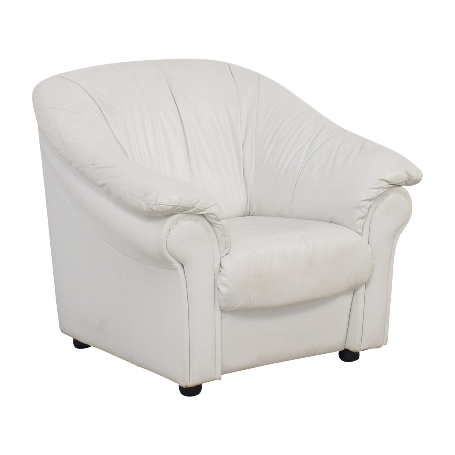 West Elm West Elm White Leather Armchair / Chairs