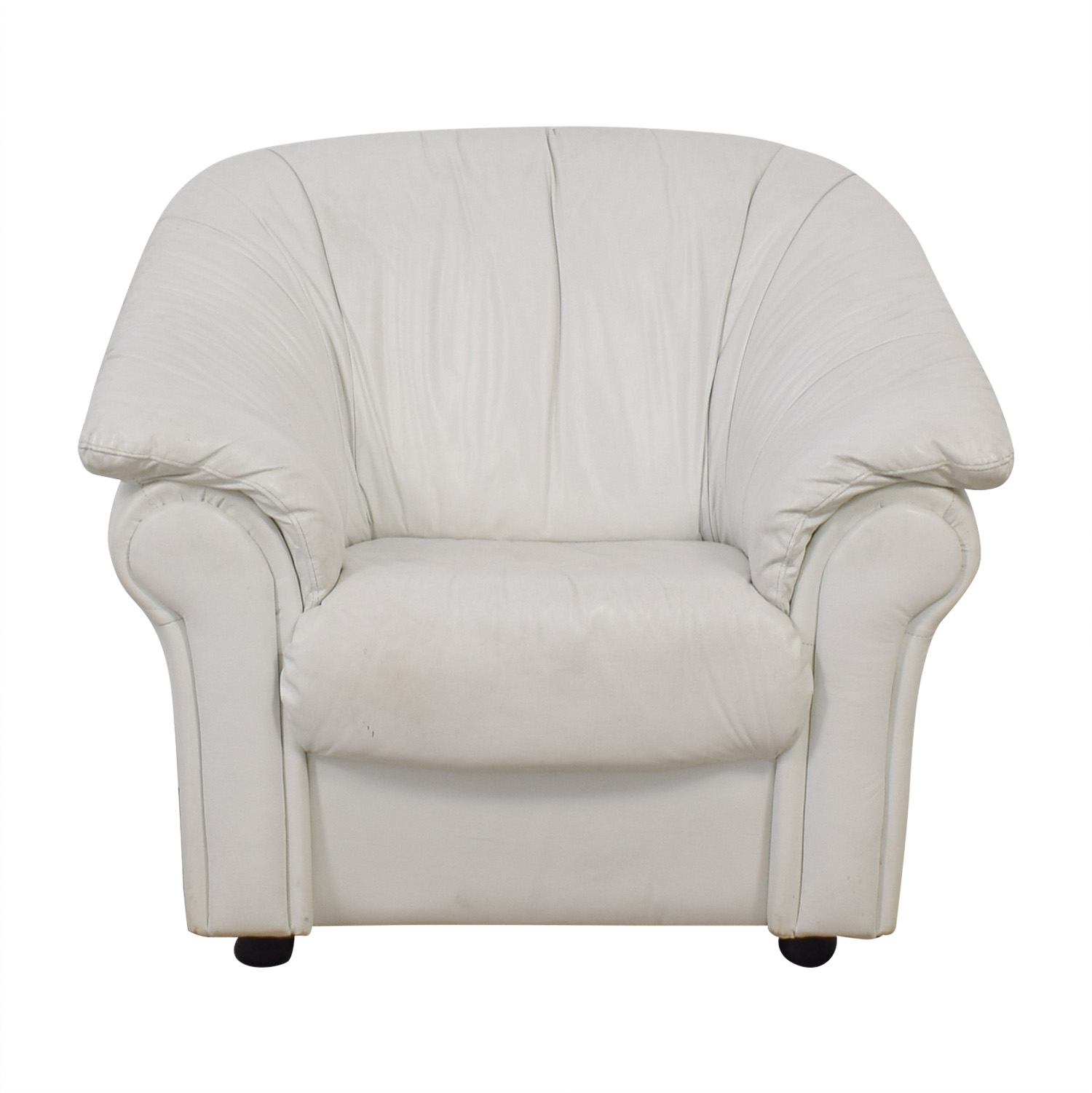 90% OFF - West Elm West Elm White Leather Armchair / Chairs