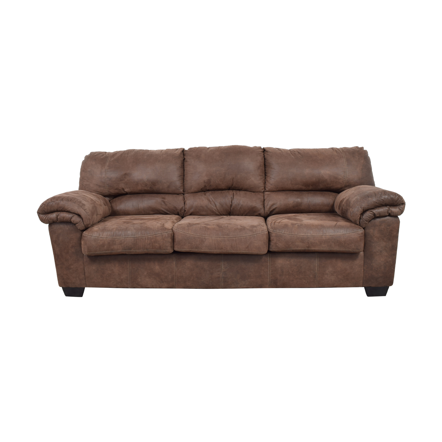shop Ashley's Furniture Three-Cushion Brown Sofa  Classic Sofas