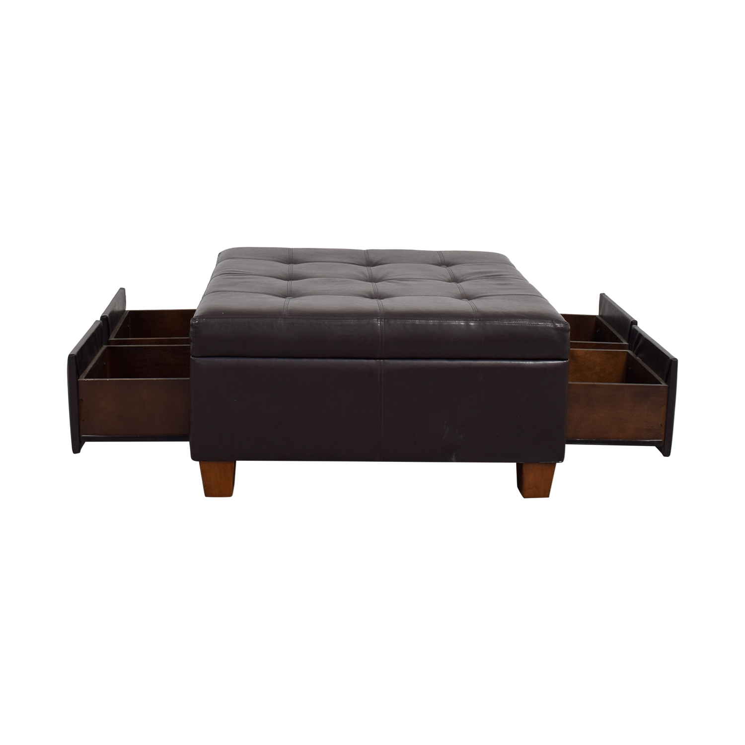 Pottery Barn Pottery Barn Brown Tufted Leather Storage Ottoman price