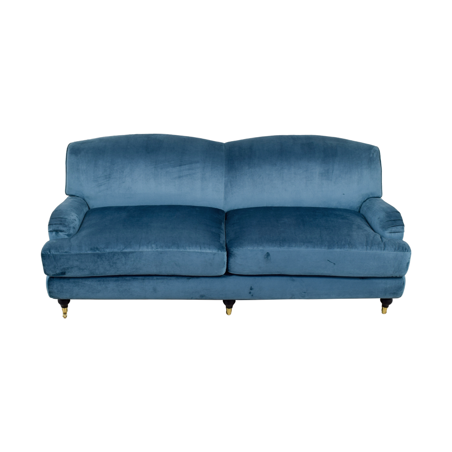 Rose Blue Velvet Two-Cushion Sofa nj