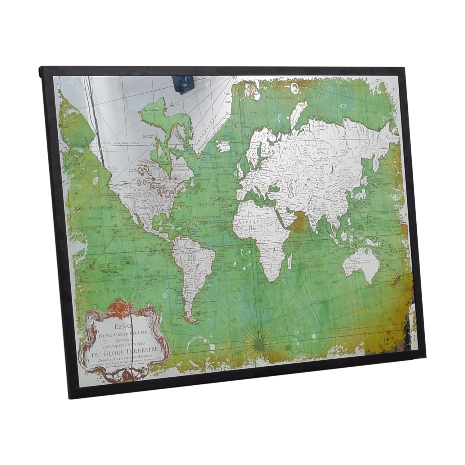 World Market Framed Green and Mirrored World Map / Mirrors
