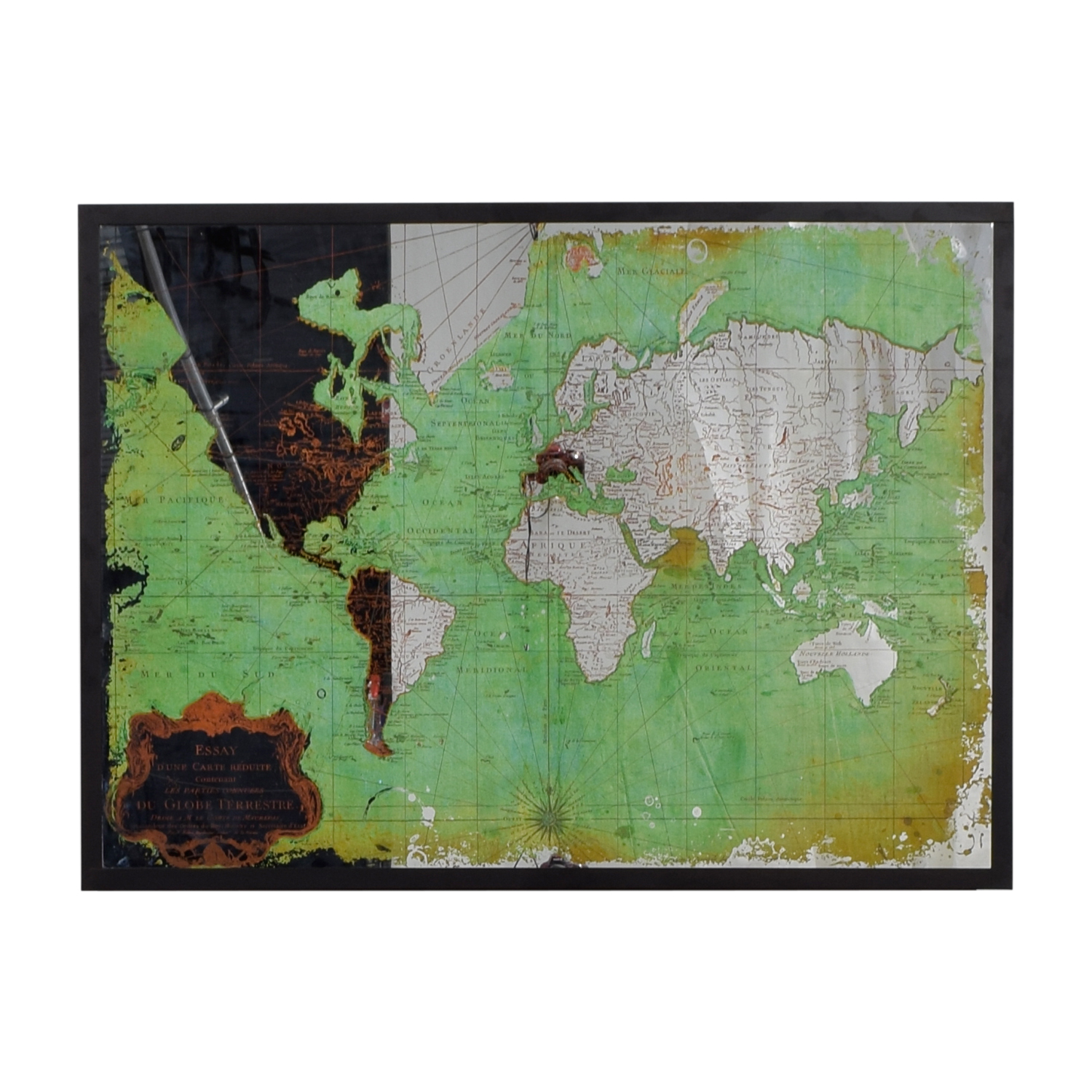 World Market World Market Framed Green and Mirrored World Map nj