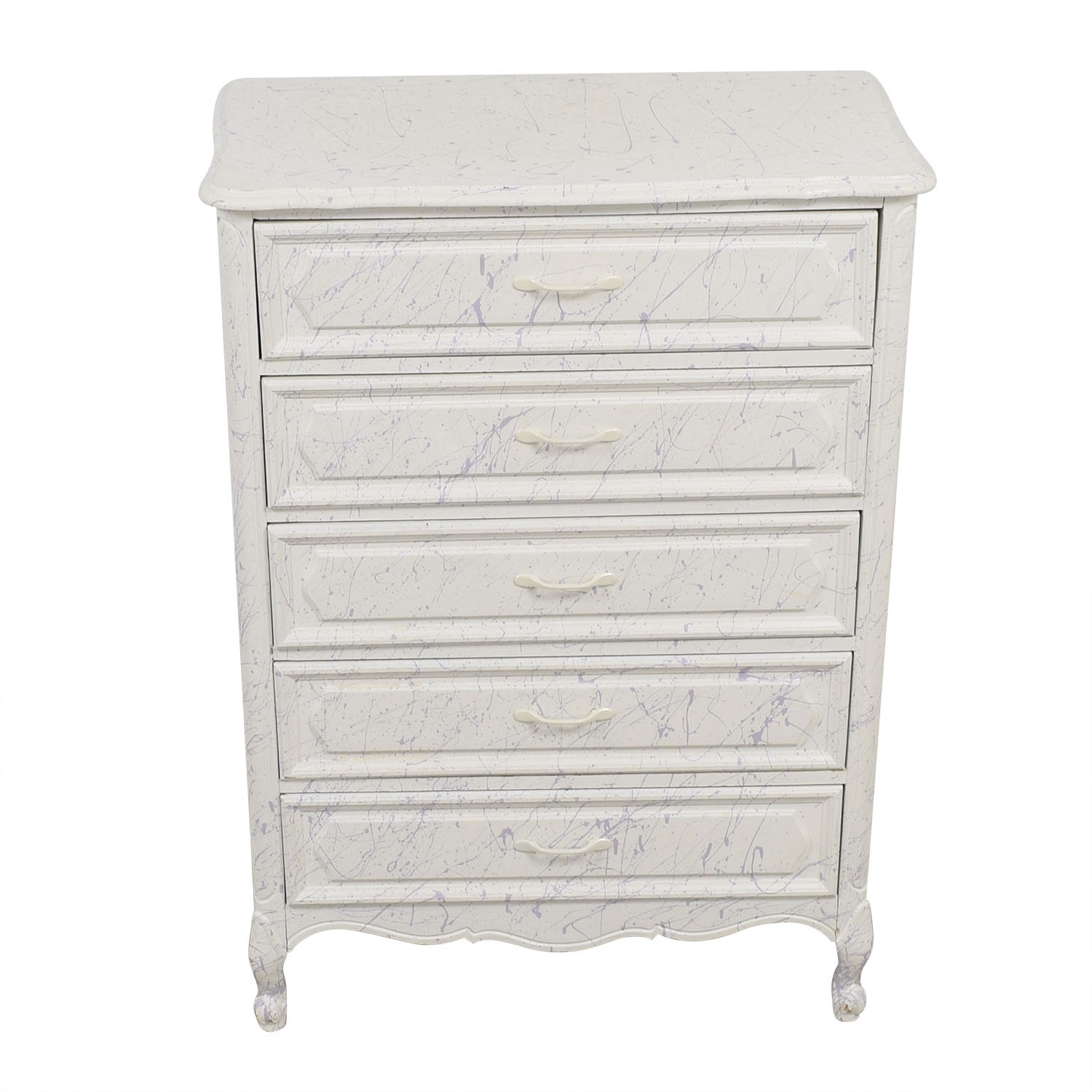 White and Lavender Five-Drawer Dresser nyc