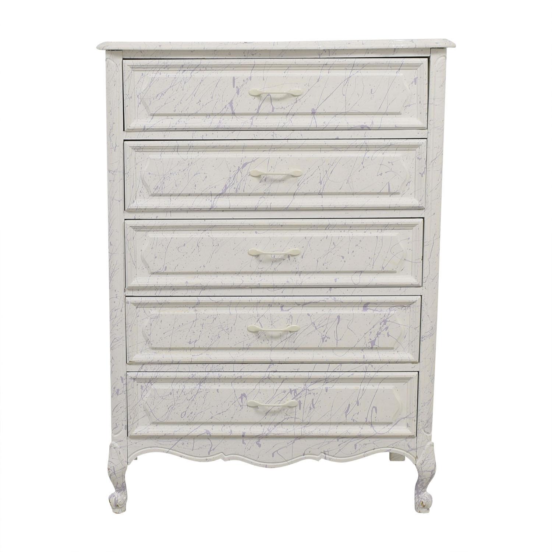 White and Lavender Five-Drawer Dresser