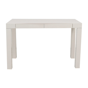 buy West Elm Pasons White Two-Drawer Desk West Elm
