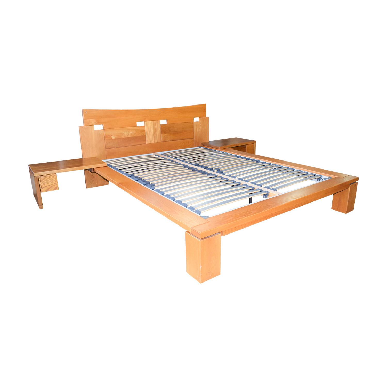 Roche Bobois Wood Platform Full Bed Frame with End Tables sale