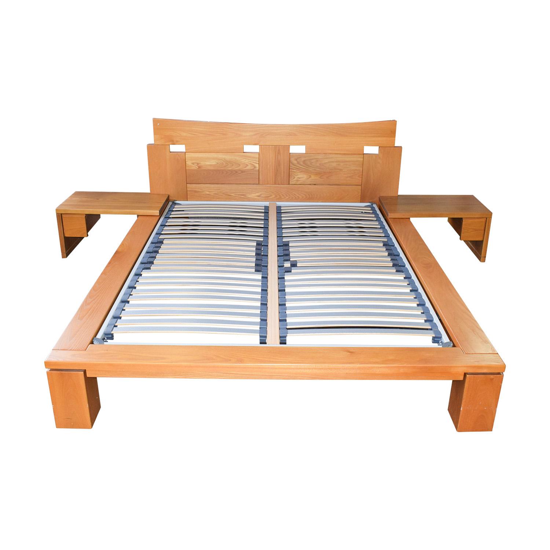 Roche Bobois Roche Bobois Wood Platform Full Bed Frame with End Tables nj