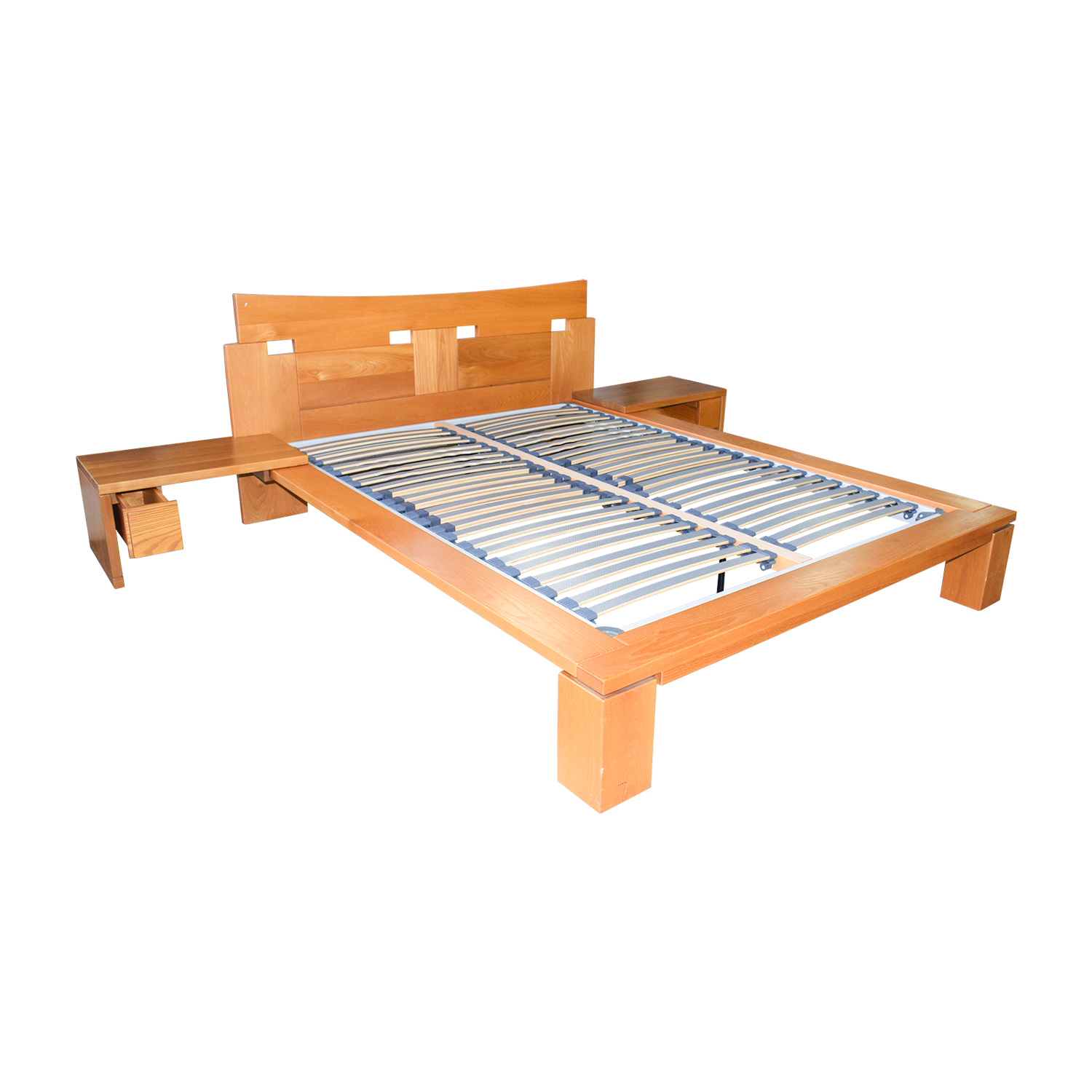 Roche Bobois Roche Bobois Wood Platform Full Bed Frame with End Tables on sale