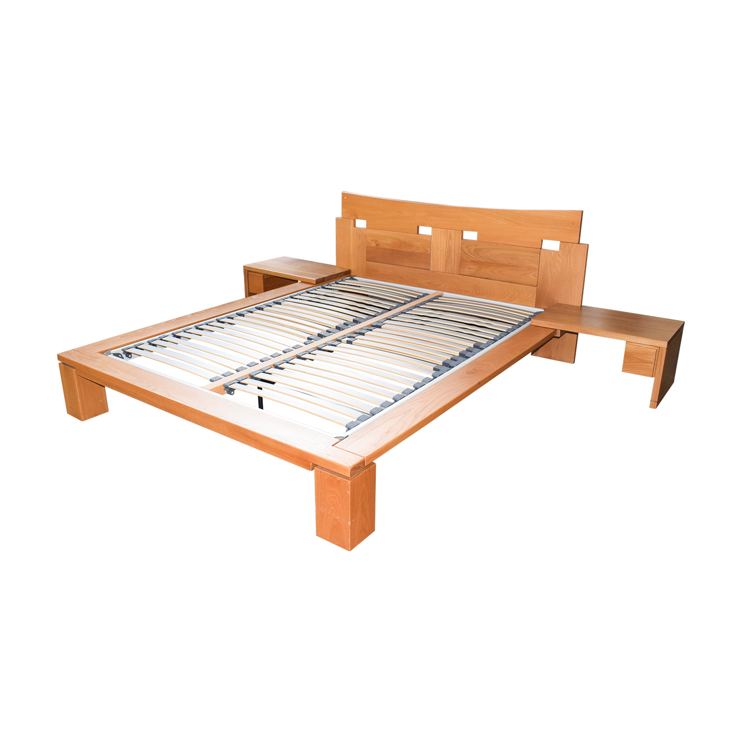 Roche Bobois Roche Bobois Wood Platform Full Bed Frame with End Tables second hand
