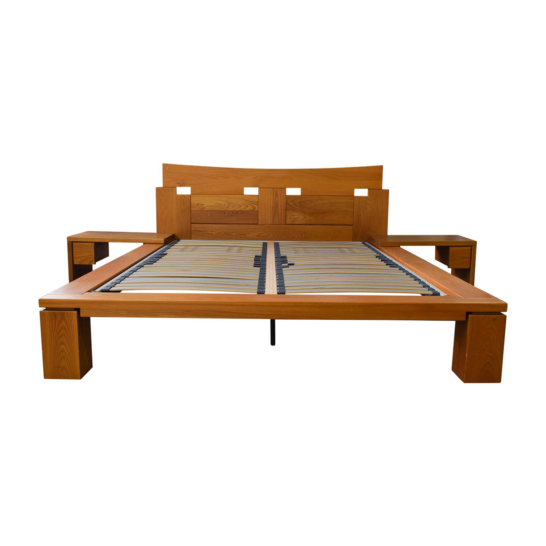 Roche Bobois Roche Bobois Wood Platform Full Bed Frame with End Tables