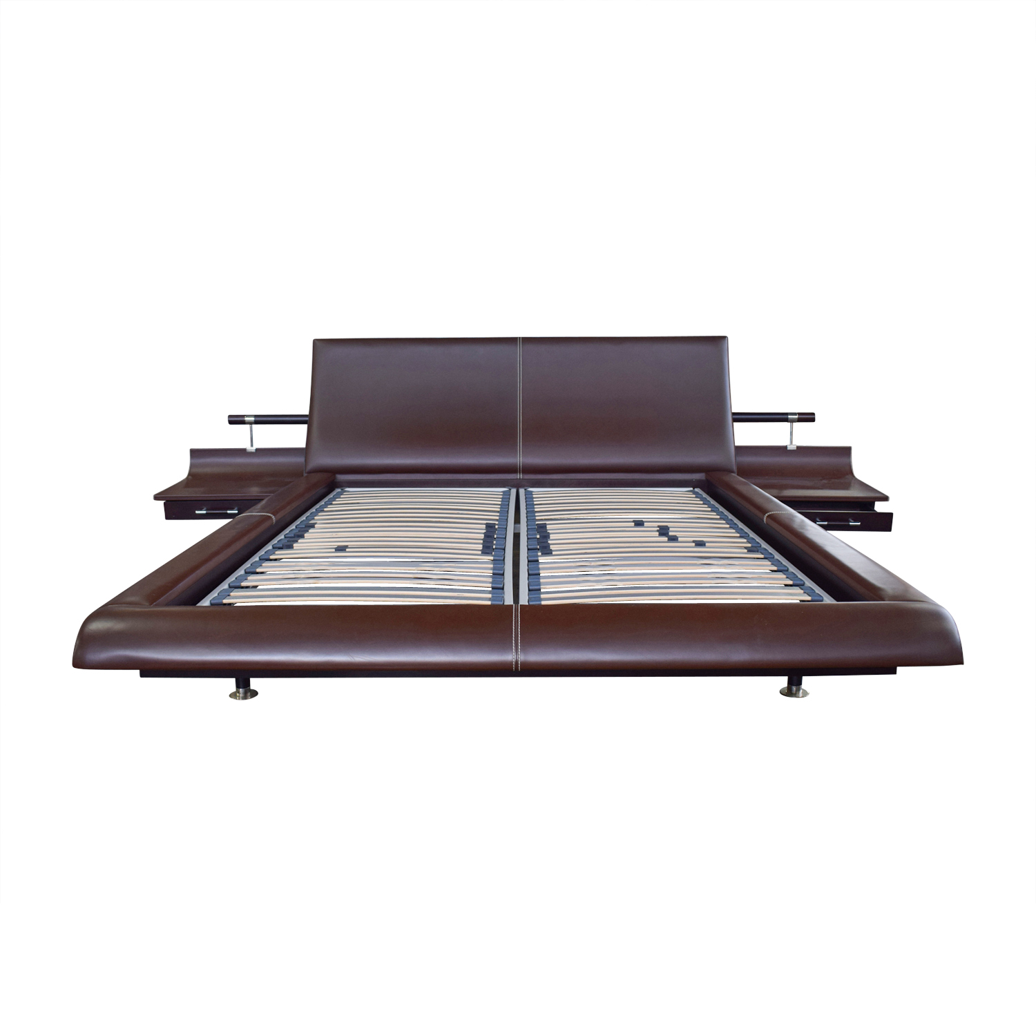 Roche Bobois Roche Bobois Vanity Bed with Nightstands Brown Leather Platform Queen Bed Frame second hand