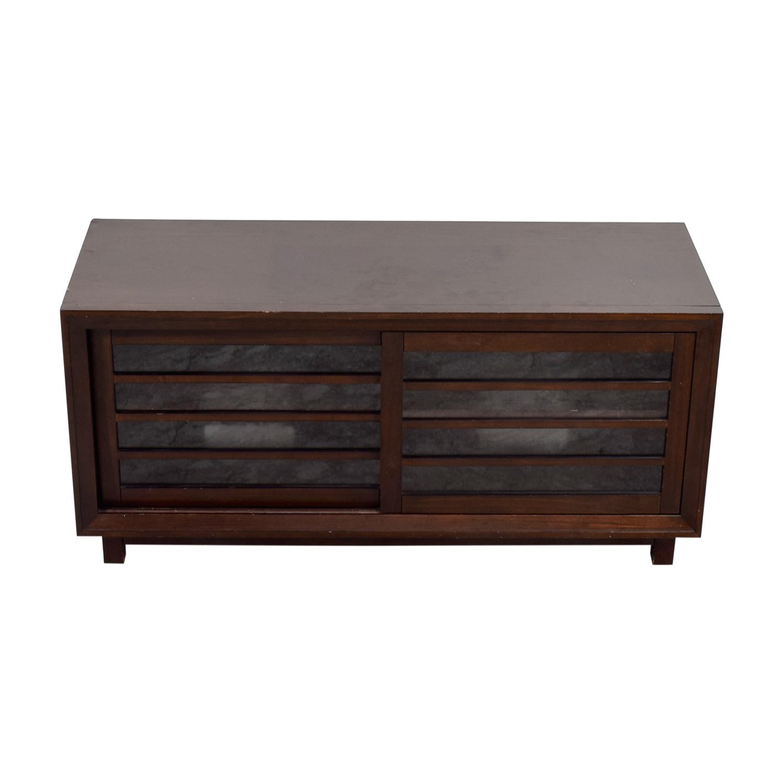 Crate & Barrel Wood and Glass Media Console Crate & Barrel