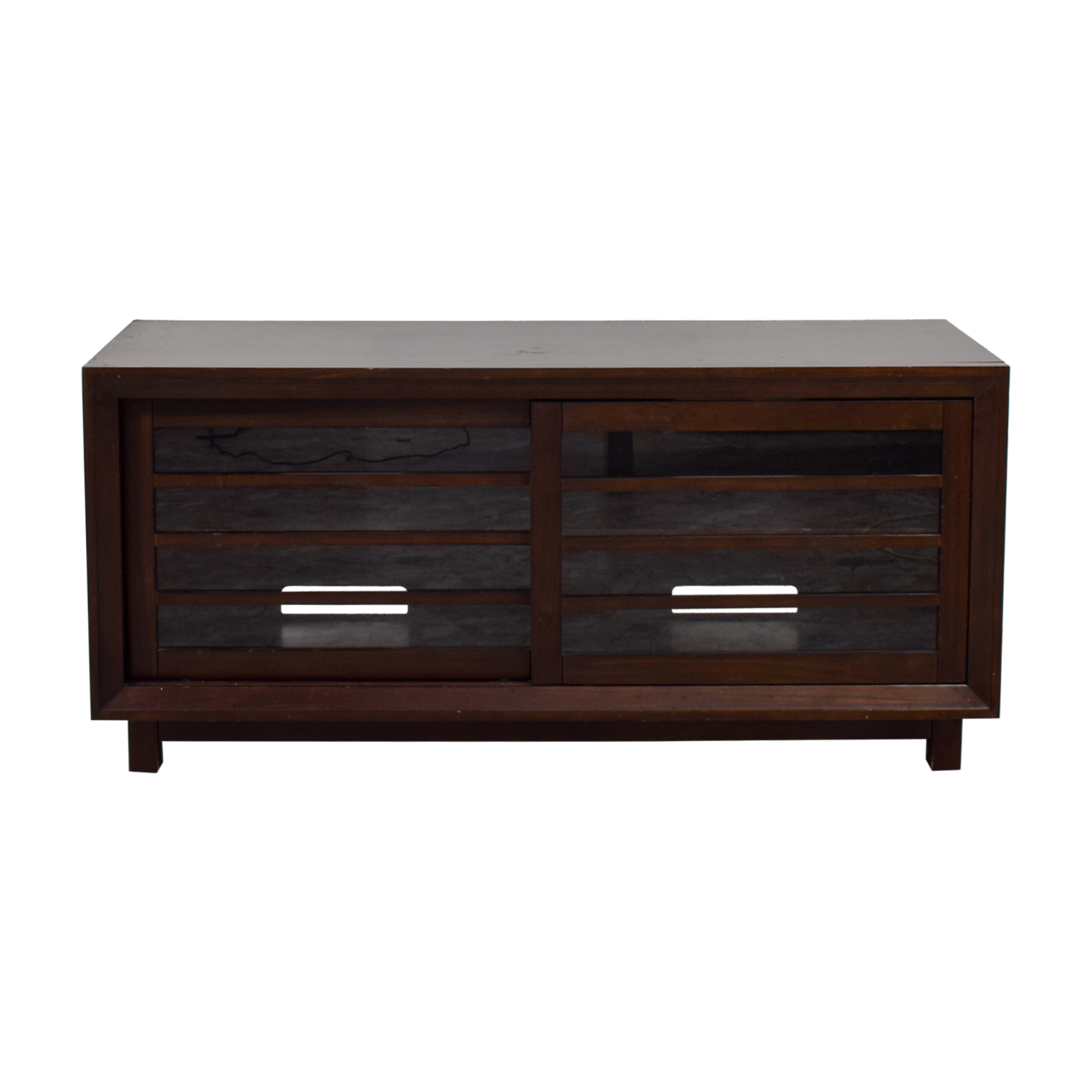 shop Crate & Barrel Wood and Glass Media Console Crate & Barrel Storage