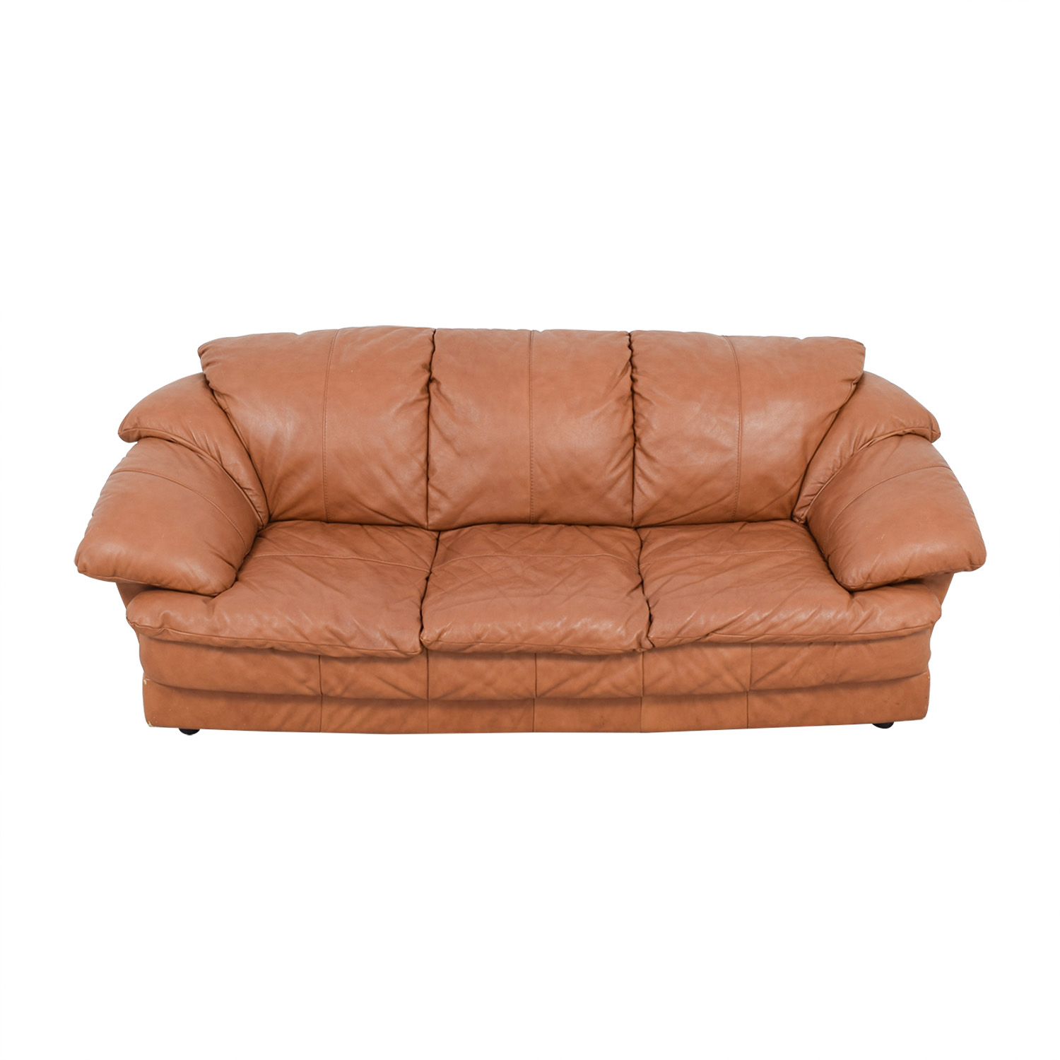 shop  Brown Leather Three-Cushion Sofa online