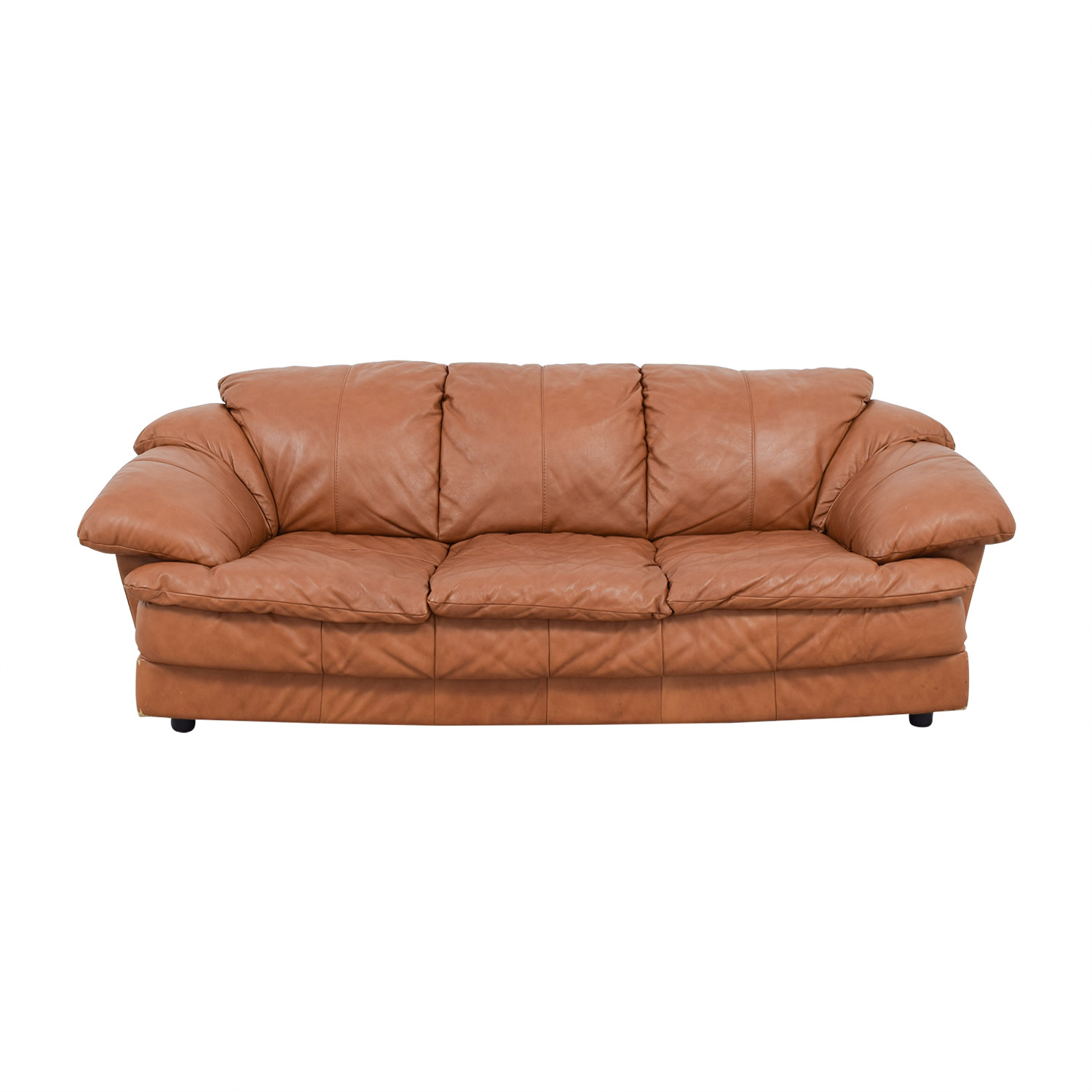 buy Brown Leather Three-Cushion Sofa