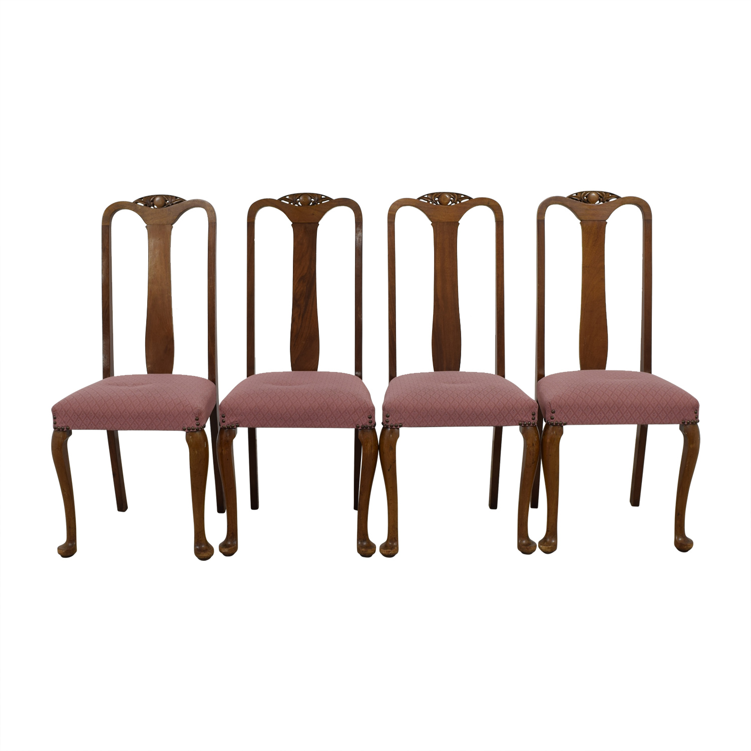 Antique Wood and Pink Upholstered Chairs nj