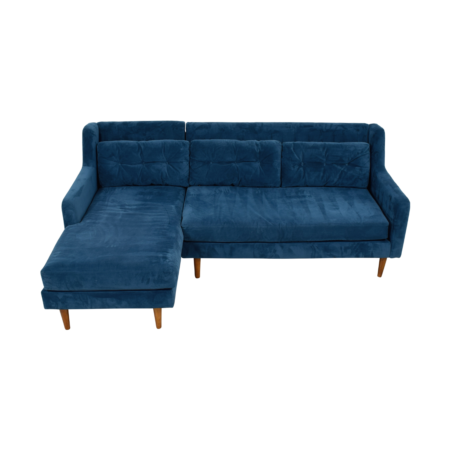 West Elm Crosby Lagoon Blue Tufted Chaise Sectional
