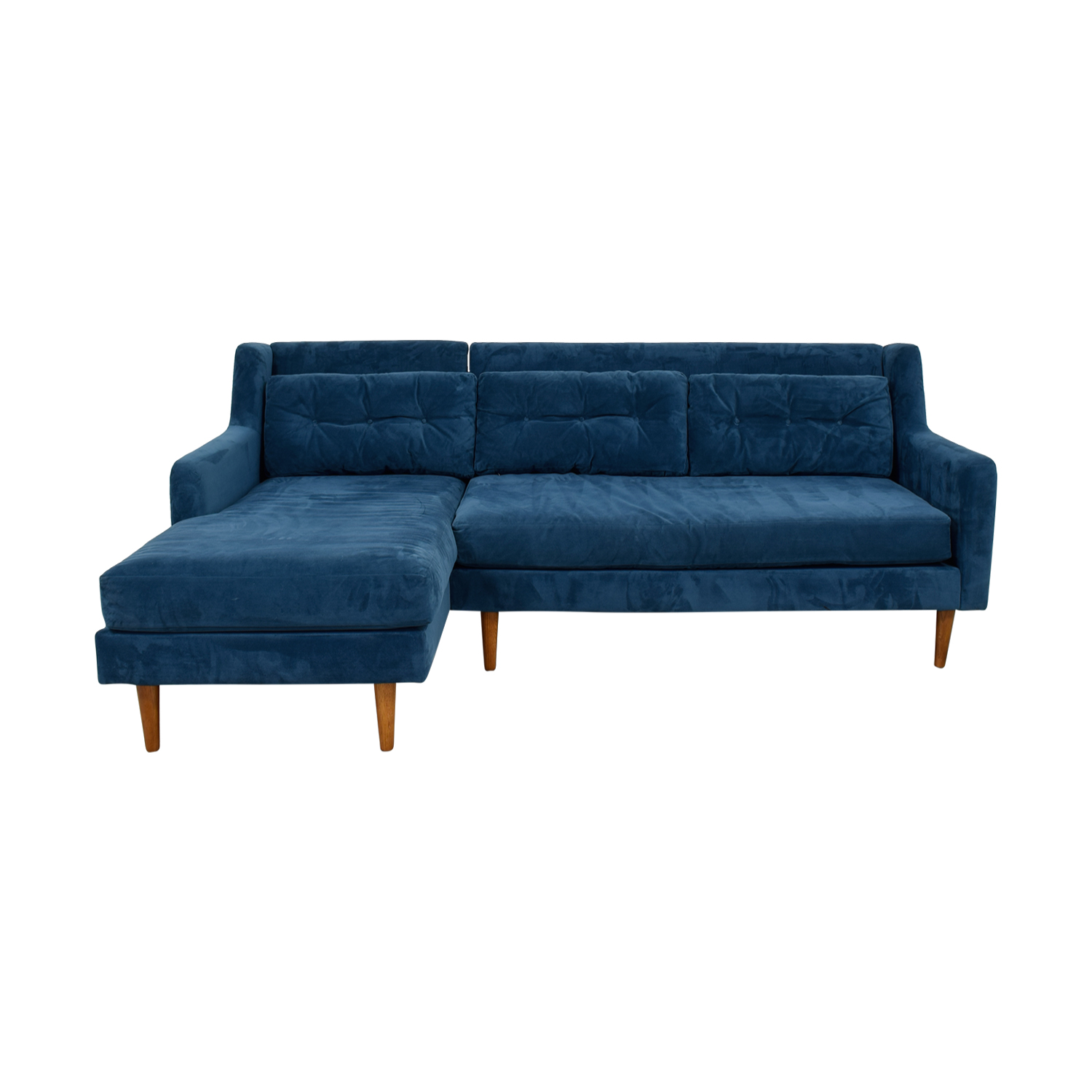 West Elm Crosby Lagoon Blue Tufted Chaise Sectional sale