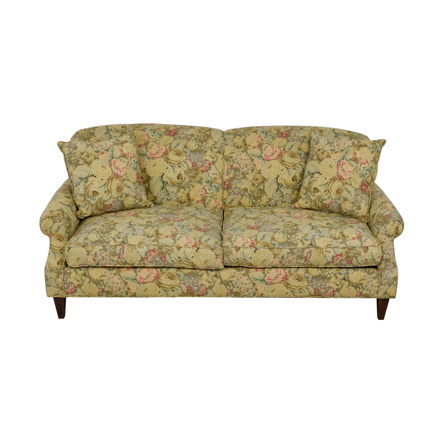 buy Crate & Barrel Crate & Barrel English Tight-back Roll Arm Sofa with Throw Pillows online