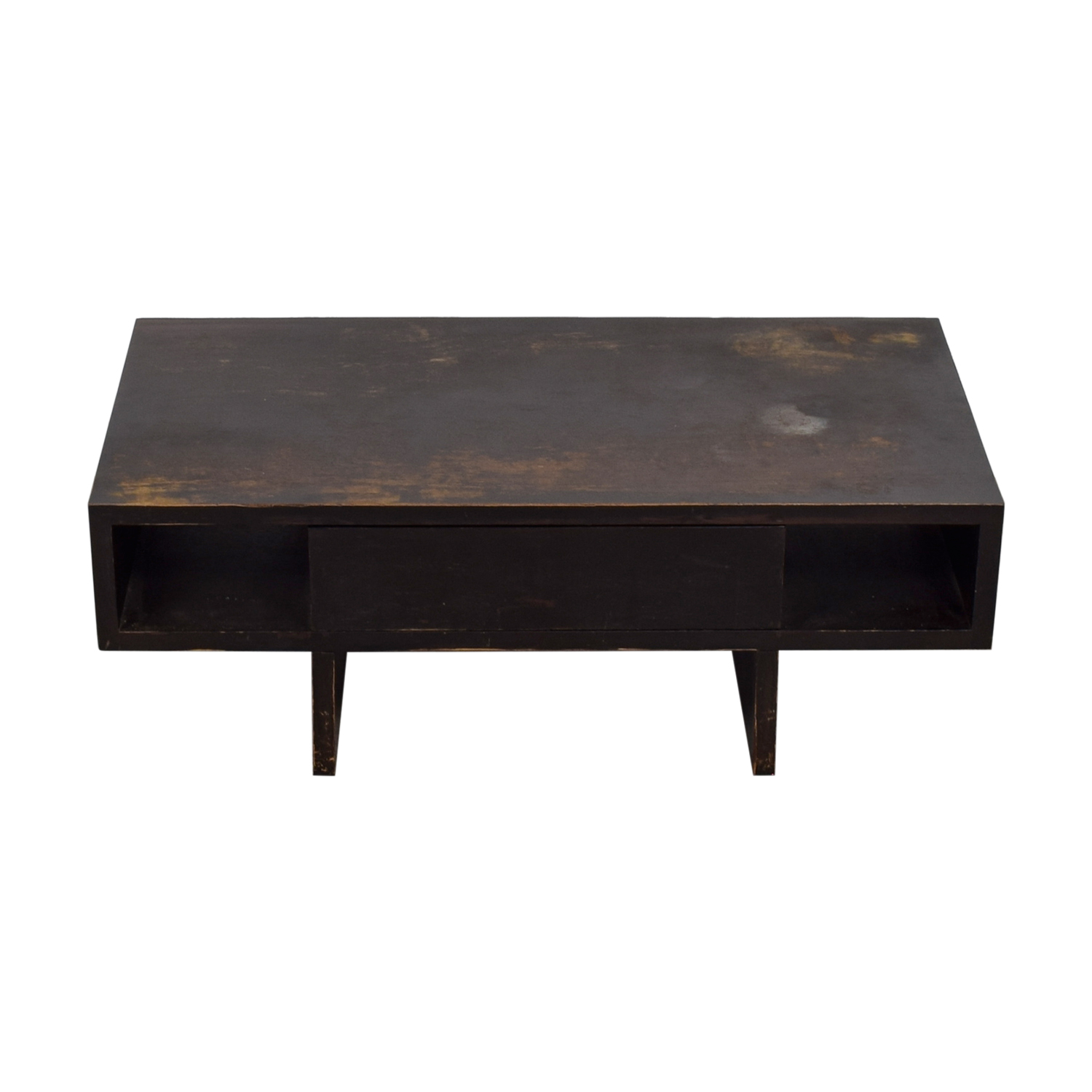 West Elm West Elm Distressed Black Storage Coffee Table second hand