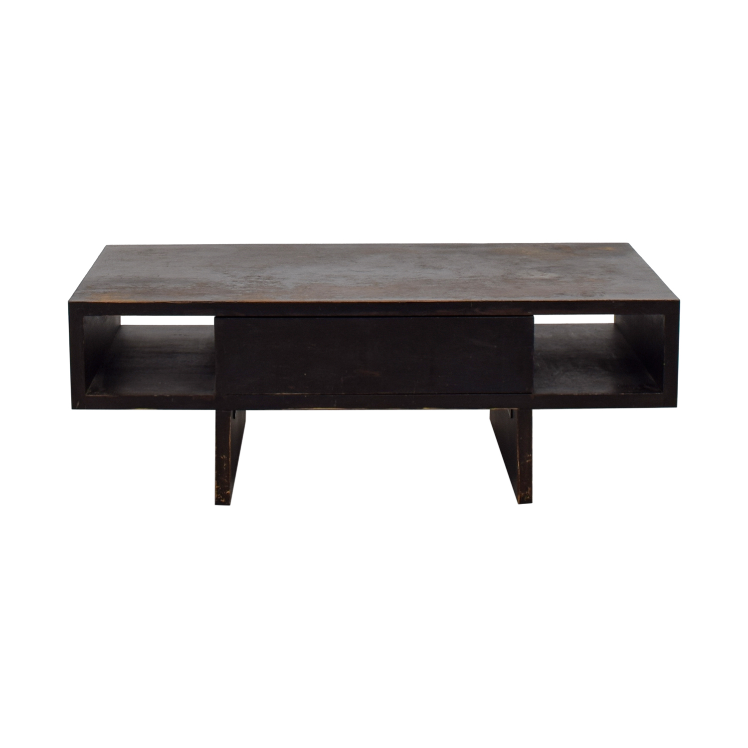 shop West Elm West Elm Distressed Black Storage Coffee Table online