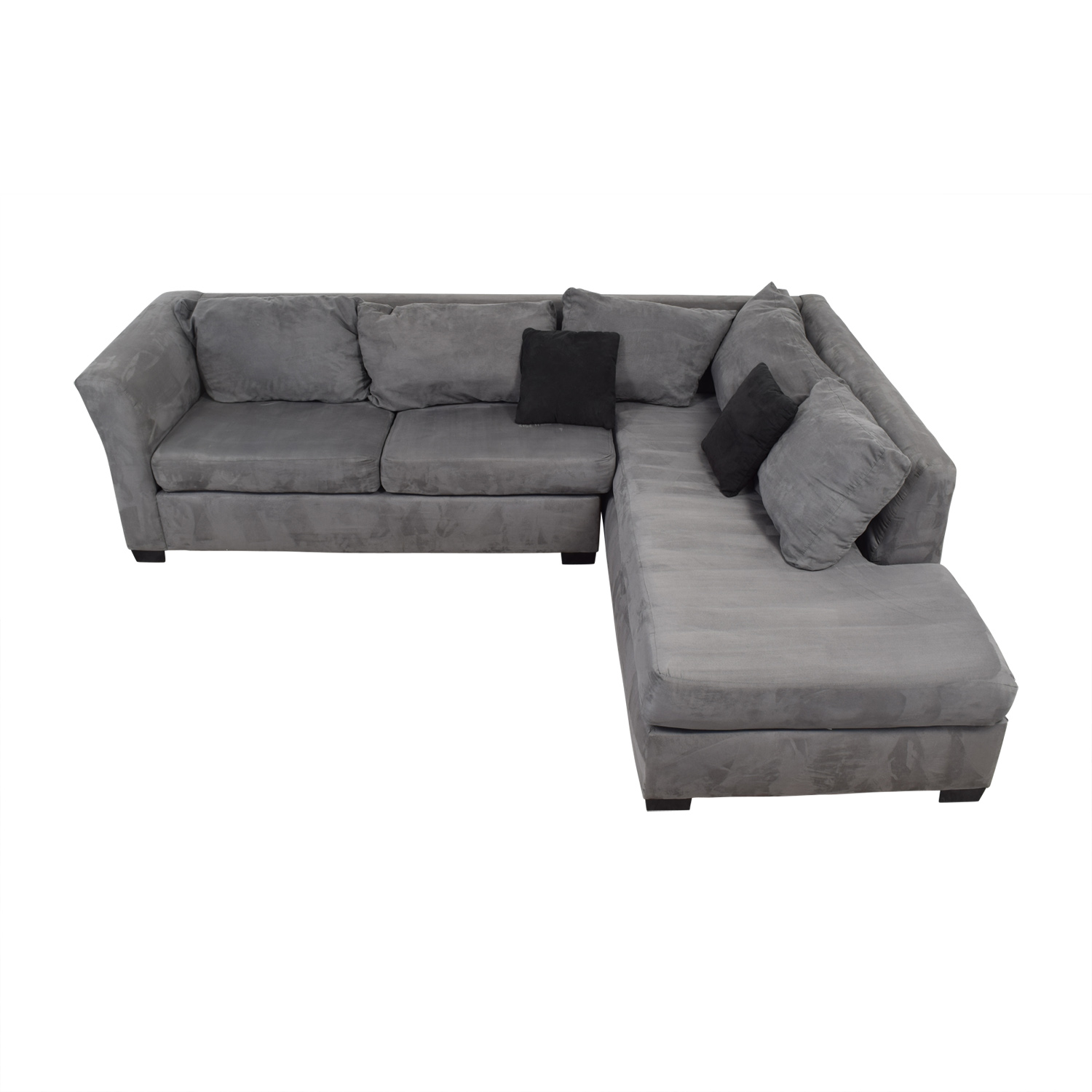 Custom Gray Microfiber L-Shaped Sectional sale