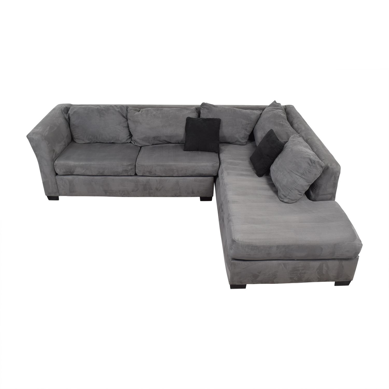 55% OFF - Custom Gray Microfiber L-Shaped Sectional / Sofas