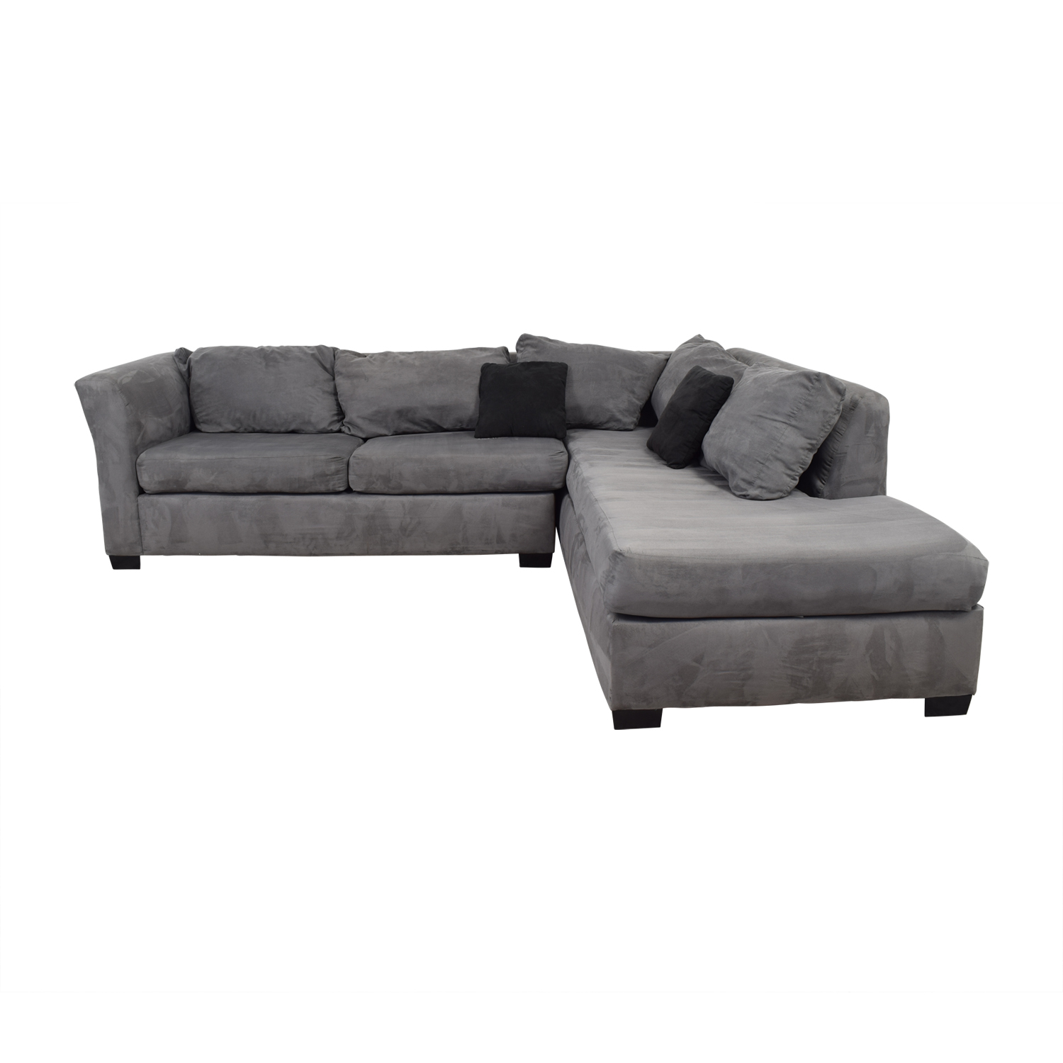 55% OFF - Custom Gray Microfiber L-Shaped Sectional / Sofas