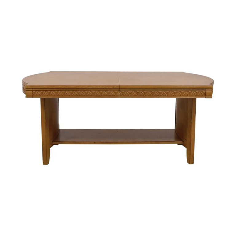 Oblong Oak Carved Dining Table with Glass Top Protector and Exention Leaf dimensions