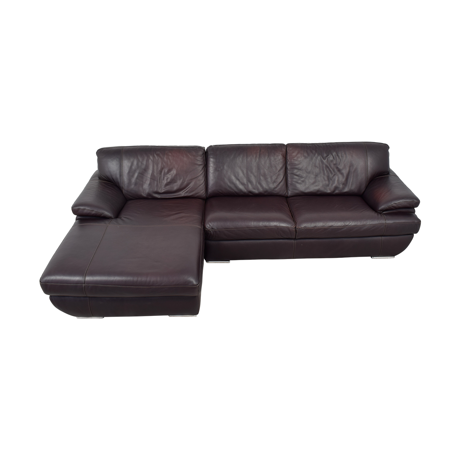 Chateau D'Ax Brown Leather Left Chaise Sectional Chateau D'Ax