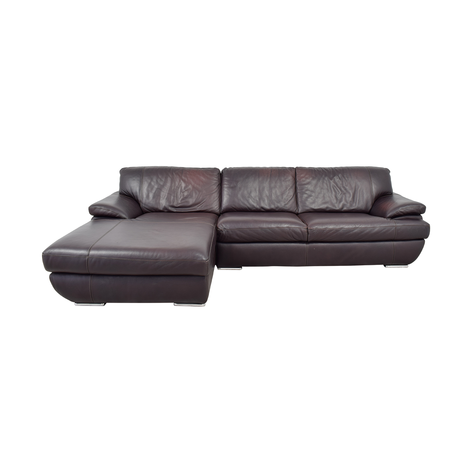 buy Chateau D'Ax Chateau D'Ax Brown Leather Left Chaise Sectional online