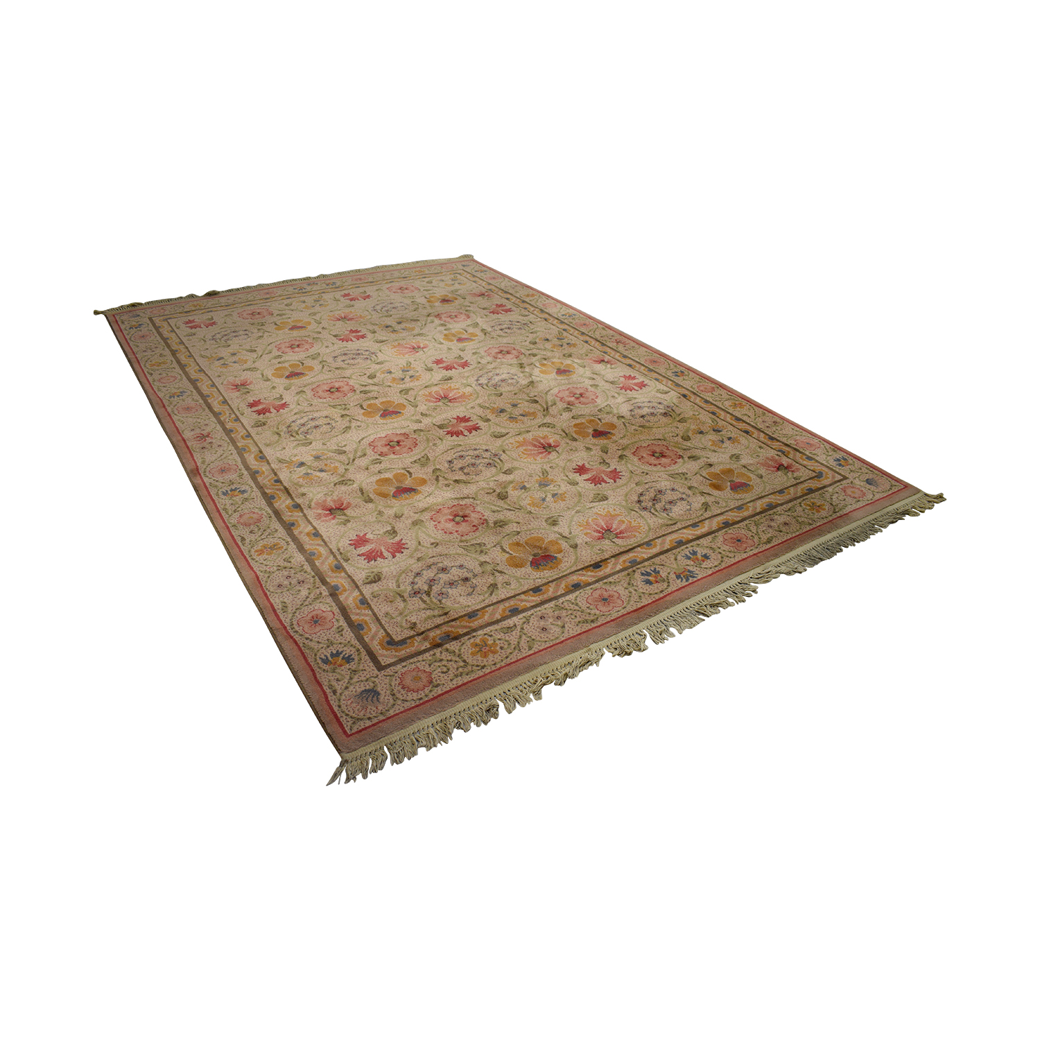 Karastan Karastan Oriental Beige and Red Floral Rug for sale