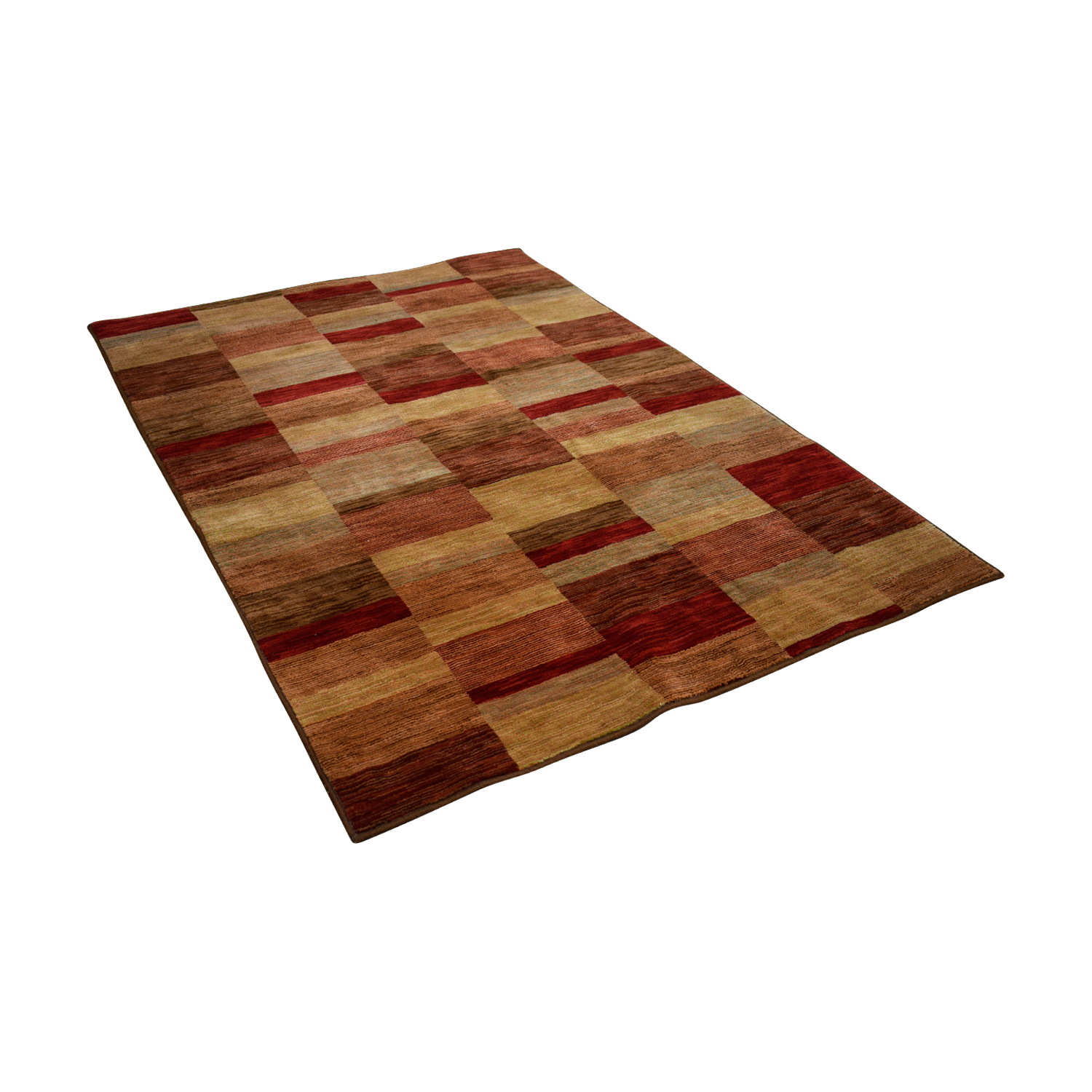 Raymour & Flanigan Raymour & Flanigan Shaw Living Burgundy Tan and Brown Rug nj