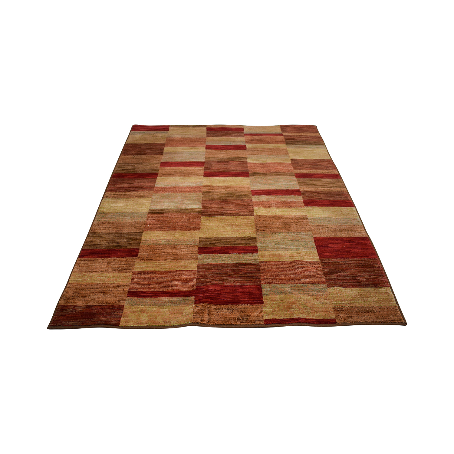 Raymour & Flanigan Shaw Living Burgundy Tan and Brown Rug Raymour & Flanigan