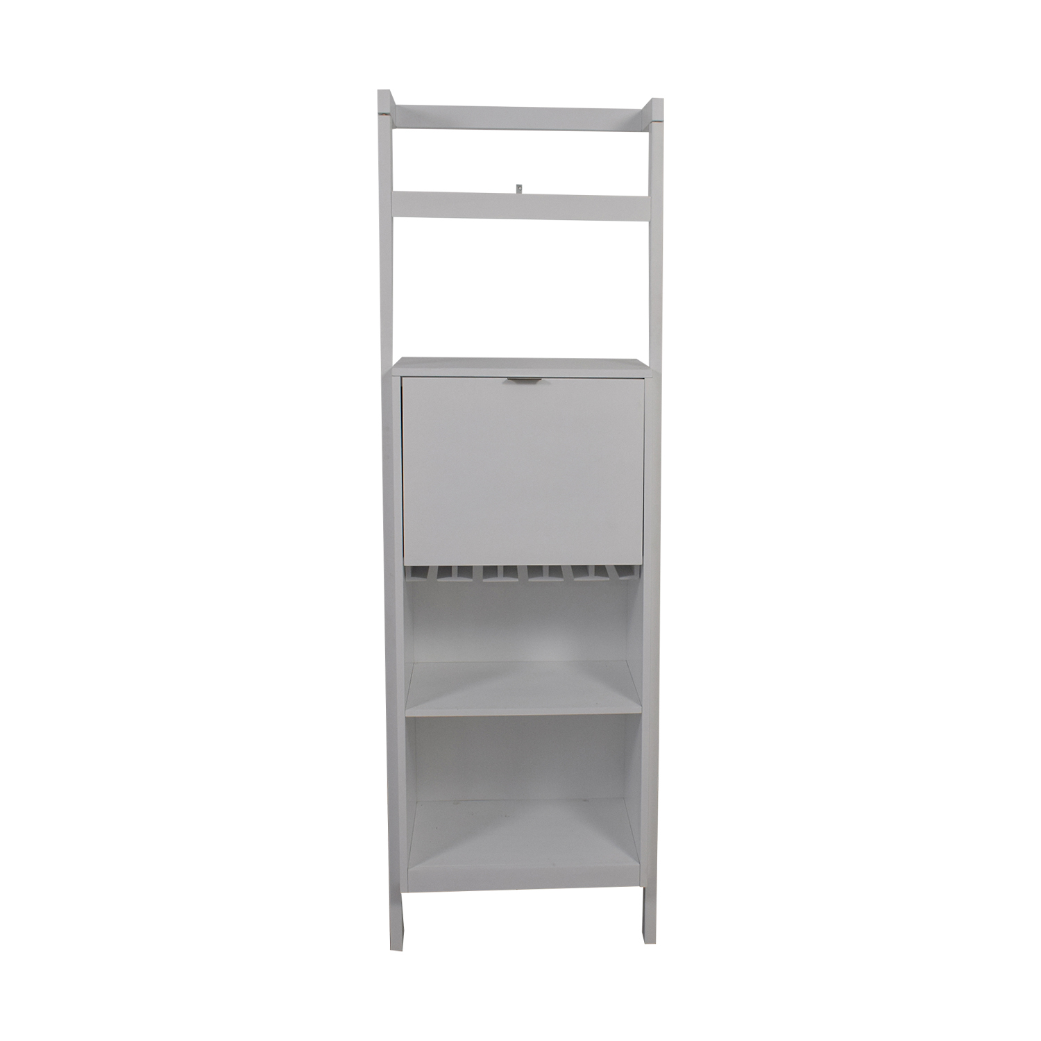 shop Crate & Barrel Sawyer White Leaning Spirit Cabinet Crate & Barrel Bookcases & Shelving
