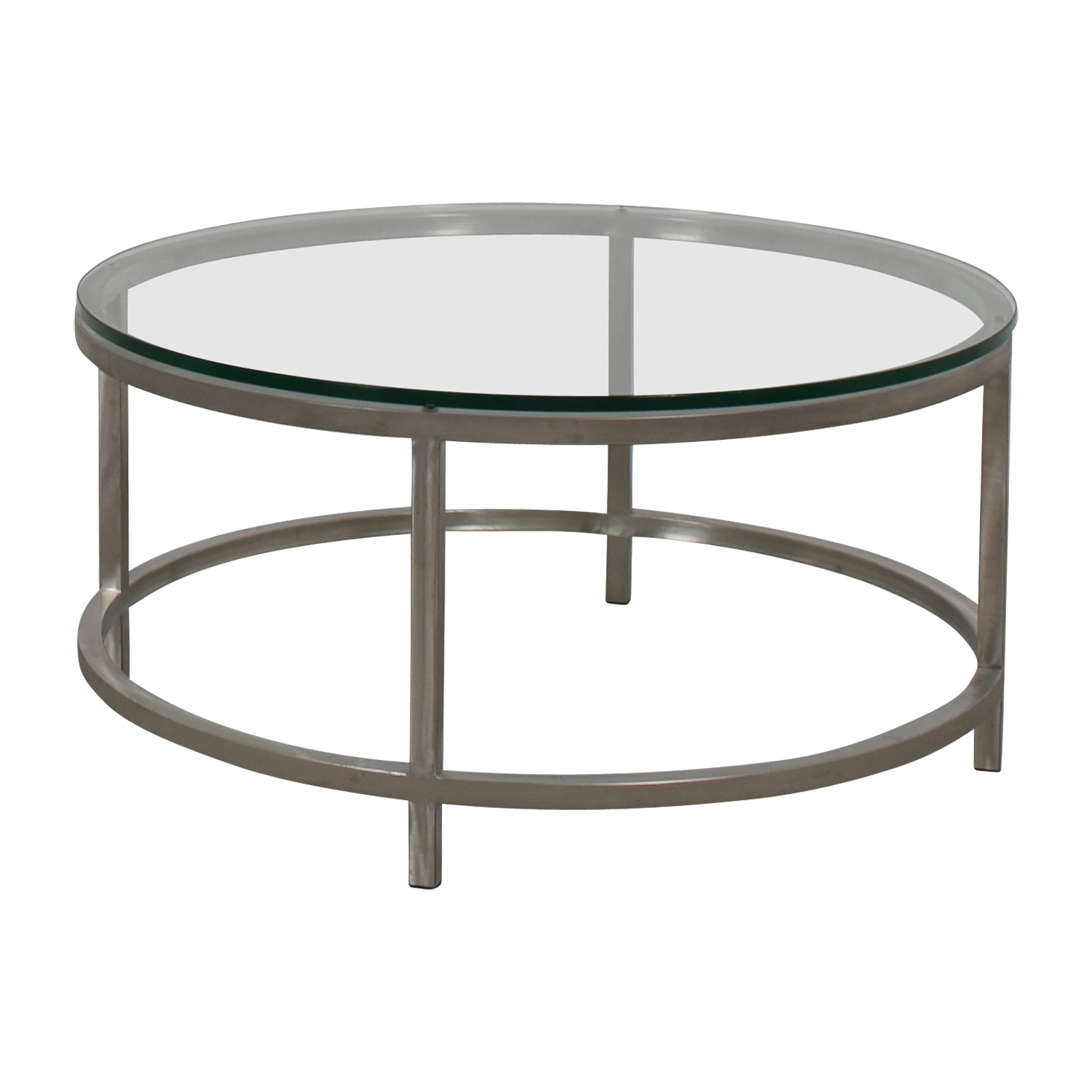 shop Crate & Barrel Era Round Glass and Chrome Coffee Table Crate & Barrel